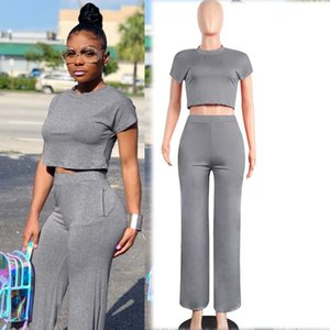 Gray Tracksuit for Women Outfit Sportswear Co-ord Set 2 Piece Set Top Pant Suits 2021 Summer Matching Festival Solid Clothing