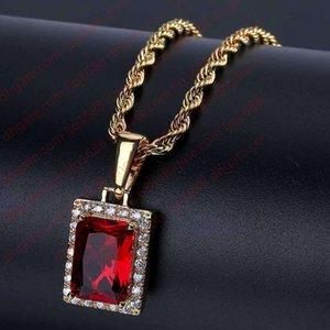 Hip Hop Men Women Square Crystal Rhinestion Pendant Necklace Gold Silver Color Micro Pave CZ Stone Chain Necklace