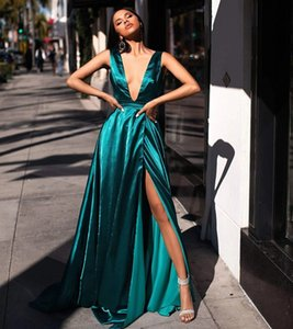 Hunter Green Slik Satin Sexy V Neck Formal Evening Dresses 2021 Longo Side Split Prom Party Gowns Robe De Soiree Cheap
