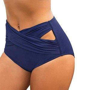 FOOHOOSTORE Mujeres Sólido Color de la cintura alta Nadar Bisgo Criss Cross CrostOut Bikini Skadsuit Briefs S-2XL