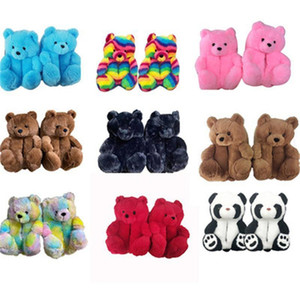 DHL Plush Teddy Bear House Slippers Brown Women Home Indoor Soft Anti-slip Faux Fur Cute Fluffy Pink Slippers Women Winter Warm Shoe