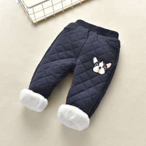 Trousers Winter Boys Fleece Solid Corduroy Pant 2-7Y Child Plus Velvet Thick Elastic Waist Straight Fall Warm Clothes Kids Pants
