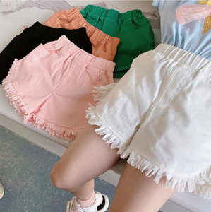 Girls Shorts Tassel Children Denim Pants Solid Toddler Short Pant Causal Panties Kids Summer Clothes 5 Colors Optional DW6460