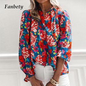 Élégante chemise à imprimé floral chemisier femme 2021 casual manches longues en vrac Tops dames Automne Nouveau Sexy Col V-Col Streetwear Blusa Mujer