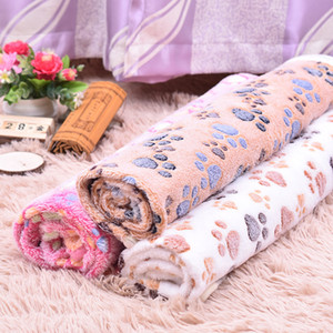 40*60cm Pet Blanket Cute Paw Foot Print Dog Blankets Soft Flannel Sleeping Mats Puppy Cat Warm Bed Cover Kennels Sleep Blankets