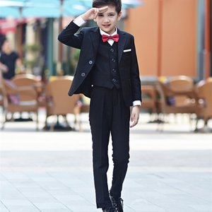 Blue Blazer for Wedding Suit Children Jacke+ trousers + shirt + tie + vest Kid Tuxedos Set Autumn Winter Big Boys Party Blazers T200819