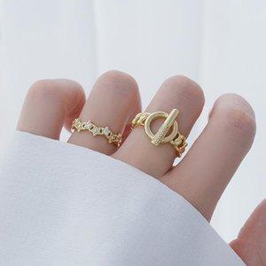 مجوهرات حساسة 14K الذهب الحقيقي قابل للتعديل حلقات ستار كريستال للنساء أسلوب بسيط مكعب الزركون شيك حلقات