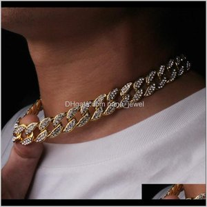 Hip Hop Bling Fashion Chains Jewelry Mens Gold Silver Miami Cuban Link Chain Necklaces Diamond Iced Out Chian Necklaces Istlx Diusz