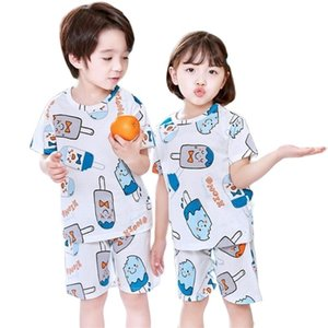 Summer breathable mesh clothes for baby girls boys shirt+shorts 2pcs set pajamas homewear sets children cartoon nightwear suit 210915