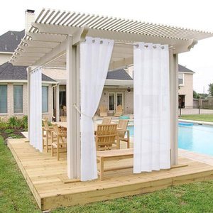 Curtain & Drapes 1pc Panel Waterproof Garden Decoration Outdoor Sheer Curtains For Porch Exterior Voile With Sliver Ring Grommet FFT
