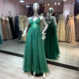 Party Dresses Sexy Emerald Green Crystals Beaded Long Prom Straps Spaghetti Tulle Sleeveless Backless Aline Gown Slit