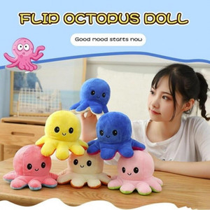 Reversible Flip Octopus Stuffed Doll Soft Double-sided Expression Plush Toy Baby Kids Gift Doll New Year Festival Party Supplies