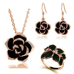 Fashion Rose Flower Esmalte Collar Pendientes Pendientes Conjunto Juego Juego Juego Negro Pintura Negro Declaración Cuello Collar Conjunto Joyería para Mujeres Boda