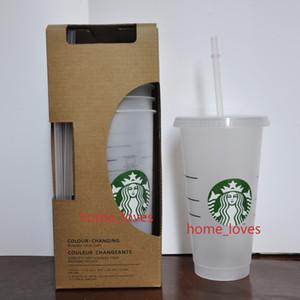 24 Unzen / 710ml Transparente Plastikbecher Saftbecher, die keine Farbe ändern Wiederverwendbare Getränkebecher-Starbucks-Tassen mit Deckeln und Strohhaltern Coffe