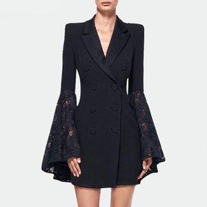 Spring New Black Slim fashion trumpet sleeve celebrity Blazer coat women's mid length suit