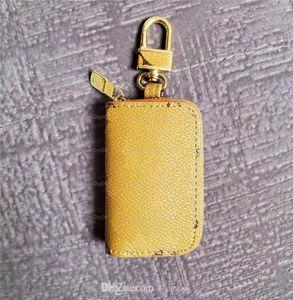 2021 Luxurys Designers Letter Wallet Keychain Keyring Fashion Purse Pendant Car Chain Charm Brown Flower Mini Bag Trinket Gifts Accessories 01
