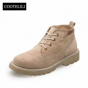 CooteliLi Женщины Boots oakle Boots Платформы Каблуки Причинные Обувь Женщина Искусственная замша Кожа Botas Mujer Lace Up Black F7BL #