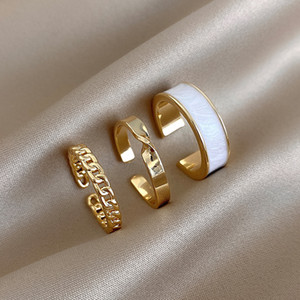 3PCS Set Gold Color Enamel Chains Open Adjustable Ring Set for Women Girl Gothic Rings Party Wedding Korean Jewelry 2021