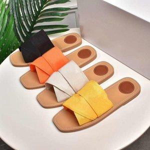 2021 Top Frauen Woody Mules Hausschuhe Designer Canvas Kreuz gewebte Sandalen Sommer Outdoor Peep Toe Casual Slipper Brief Stilistische Schuhe mit Kiste