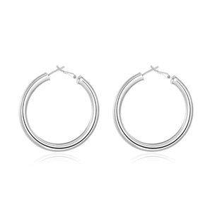 HOOP Huggie 925 Sterling Silver / Or 50mm rond Boucles d'oreilles en cercle lisse pour femme Femme Fashion Party Bijoux de mariage