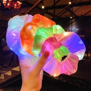 Leuchtende Scrunchies LED Hairband Pferdeschwanzhalter Headwear Frauen Mädchen Elastische Satin seidig Horrige Krawatte Haarseil Haarschmuck G21901