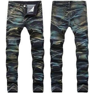 Mode Männer lackierte Jeanshose Multi Color Sretch Gedruckte Jeans Hosen für männliche Größe 29-42