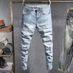 2021 Yeni Kore Tarzı Moda Erkekler Kot Retro Açık Mavi Elastik Yırtık Denim Kalem Pantolon Streetwear Tasarımcı Slim Fit Hip Hop Pantolon Leuz