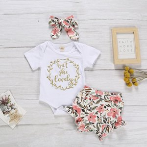 의류 세트 0-24 개월 록카 태어난 아기 소녀 여름 짧은 소매 편지 Romper Floral Print 반바지 헤드 밴드 그녀는 사랑스러운 m4가 아닙니다.