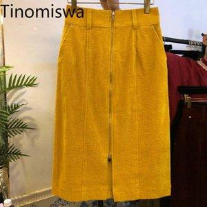 Skirts Tinomiswa Solid Color High Waist Skirt Women Zipper Casual Loose Corduroy Female Korean Chic All-match Faldas Mujer