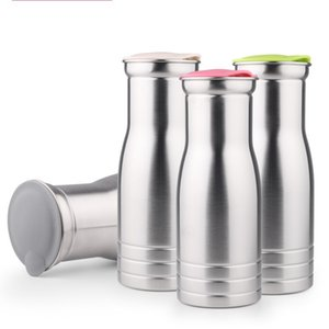 Stainless Steel Kettle Single Layer Heat Resistant Water Bottles Round And Large Caliber Design Stemless Cup Silver 17 64fn B