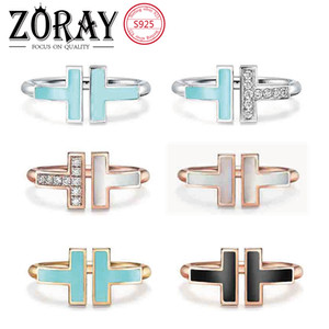 Tiff 925 sterling silver open Band Rings, brand classic mother-of-pearl double T ring