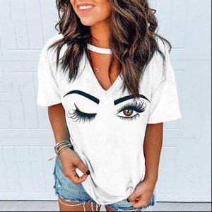 New S 5XL Plus Size Women Eyes Eyelashes V neck Tshirts Halter Tees Tops Ladies Clothes Harajuku Summer Short Sleeve T shirt