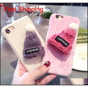 Cute Cases For Iphone 11 Pro Max 6 6S 7 8 X Plus Xr Xs Max Candy Fuzzy Lovely Plush Hat Warm Fur Ball Knitted Christmas Cap Phone W83Dk