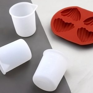 Herramientas de medición de la copa de medición de 100 ml para la cocina Reutilizable Pegamento transparente Scales de silicona Tazas DIY Barra de hornear Accesorios de comedor ZC125