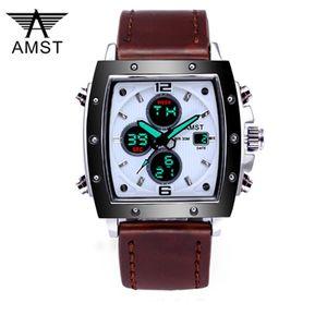 Мода Amst Mens Часы прямоугольник Милитра спортивные кварцевые двойные дисплеи мужские часы Водонепроницаемые мужские наручные часы Relogio Masculino