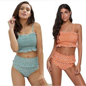 High Set Solid Bikinis New sexy triangle print waist bikini split swimsuit women