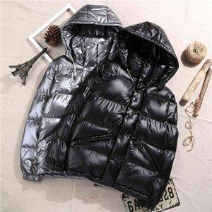 Зимняя глянцевая короткая короткая куртка мужчины густые теплые ультра светлые белые утки мужские с капюшоном мужские женские одежда повседневная вертикальная одежда