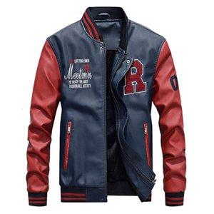 Осенью и зима Новый мужской пальто бейсбольный воротник мотоцикл свободный стиль плюшевая кожаная куртка