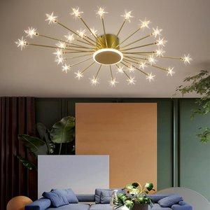 Chandeliers Creative Ceiling Chandelier For Living Room Gold Black Home Decor Lamp Modern Design Light Fixture Luxury Bedroom Acrylic Lustre