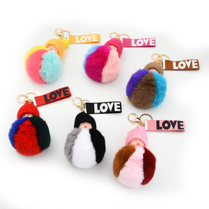 Soft Faux Fur Plush Keychains Adorable Baby Doll Toys Cute Sleeping Baby Doll Keyring For Women Girls Fluffy Pom pom Key Ring Kimter-P48FA