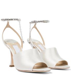Summer Luxury Designer Women's Sae Sandals Jimms Brands High Heels Open Toe & Crystal Strap Women Sandalia Feminina Wedding Dress EU35-43
