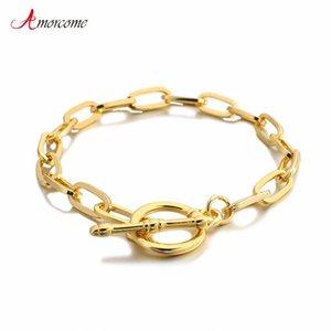 Amortanti 2021 Fashion Tiny ovale Cable Link Catena Bracciale Braccialetto Chic Gold Tone Lega Metallo Lock Chiusura Corda Bracciali Braccialetti Gioielli Pulsera