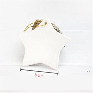 Sublimation Blank Ceramic Pendant Creative Christmas Ornaments Heat Transfer Printing DIY Ceramic Ornament 9 Styles Accept Mixed BWF5554