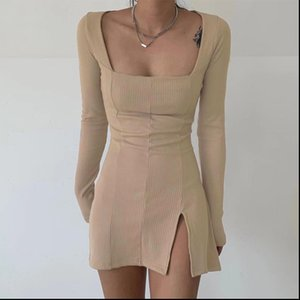 Sexy Side Split Square Collar Long Sleeve Spring Dress Women Knitted Bodycon Party Clubwear Mini Dresses 2021