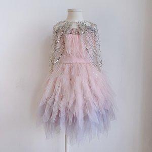 Сладкие девочки кружевные тюль принцесса шаль детские горный хрусталь марля пончо дети детские блестки партии платье платье детская одежда детская одежда A7618