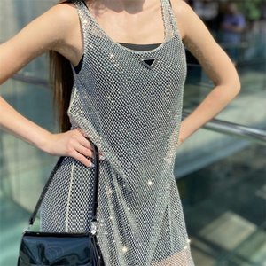Sparkle Diamond Women Dresses Mesh Hollowed Out Vest Dress With Suspender Lining Street Style Ladies Crystal Long Skirt