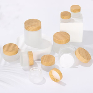 Frosted Large Glass Jars 50g 60g 80g Face Cream Jar with Wooden Imitation Lid Protector Gasket Body Butter Container Jar GWB4964
