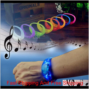 Silicone Bracelet Led Sound Control Bracelet Led Light Wrist Strap Light Up Bangle Wristband Party Bar Cheer Toy Outdoor Gadgets Vkte4 K1Bvi