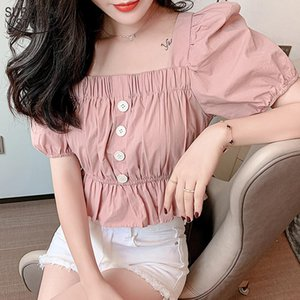 Summer Vintage New Short Sleeve Puff Sleeve Solid Fashion Women Blouses Square Collar Sweet Chiffon Blouse Ropa De Mujer 10023