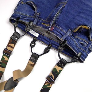 Fashion Suspenders Leather 6 Clips Brace Trousers Strap camo Heavy Duty Y Back Suspenders Adjustable Clip On unisex